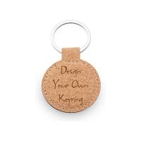Design Your Own Personalised Cork Round Keyring | Real Cork | Perfect Gift / Present |