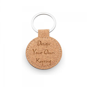 Design Your Own Personalised Cork Round Keyring   Real Cork   Perfect Gift / Present  