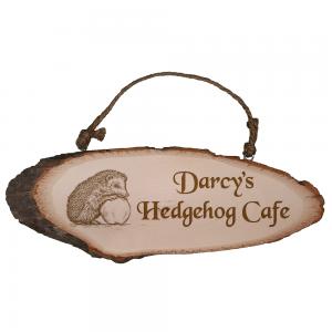 Personalised Hedgehog Café Rustic Wooden Plaque